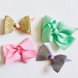 Baby Girl Set of 4 Pastel Clip Bows
